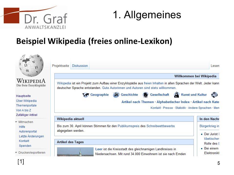 1. Allgemeines Beispiel Wikipedia (freies online-Lexikon) [1]